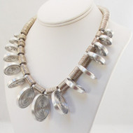 Stand Up Brushed Aluminum Spiral Necklace