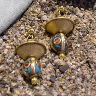 Tibetan Beads with Gold & Brass Earrings