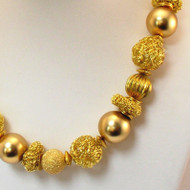 Brass Mixed Textured Bead Necklace
