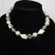 Mixed Sterling and Hill Tribe Silver Necklace