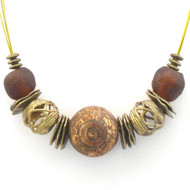 Earthtone Painted Clay Bead Necklace
