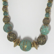 Natural Turquoise and Antique Brass Necklace