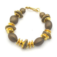 Bronze Ovals and Gold Rondelle Bracelet