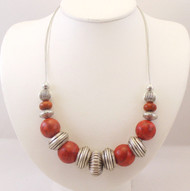 Sponge Coral Necklace withVintage Silver finished beads