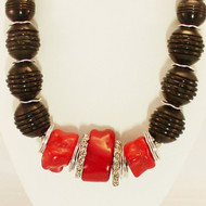 Bold, Chunky Coral with Black Carved Bone Necklace