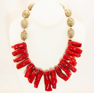 Stick Bamboo Coral with Chinese Silver Necklace