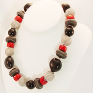 Coral, Onyx and Metal Necklace
