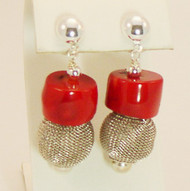 Coral Earrings with Mesh