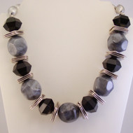 Gray Marbled Lucite Nugget Necklace