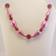 Frosted Pink Teardrop Necklace