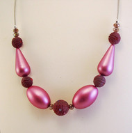 Petite Frosted Pink Teardrop Necklace