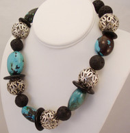 Natural Turquoise & Lava Necklace