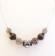 Indonesian Black Clay with Dots and Open Filigree Bead Necklace