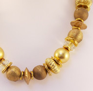Handmade Mixed Gold & Brass bead Necklace with Druzy