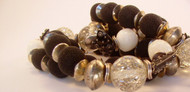 Black Microbeads with Vintage Lucite and Silver Necklace