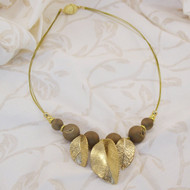 Golden Leaves & Bronze Druzy Petite Necklace