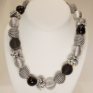 Venetian Glass & Coil Wrapped Bead Necklace
