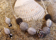 Silver Coil with Black Glass Bead Earrings