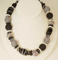 Black & White Stripes and Dots Necklace