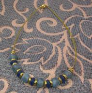 Prussian Blue & Teal Recycled Glass Necklace with Gold