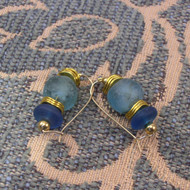 Prussian Blue & Aqua Recycled Glass Earrings with Gold