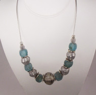 Recycled Aqua Glass & White Brass Petite Necklace