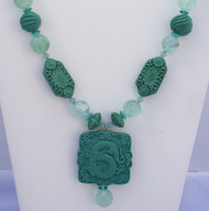 Carved Turquoise Cinnabar Pendant Necklace with Florite