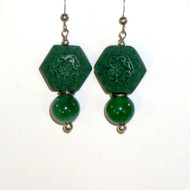 Green Jade and Carved Green Cinnabar Earrings