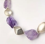 Rough-cut Amethyst and Brushed Sterling Silver