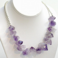 Rough-Cut Amethyst Collar Necklace with Silver