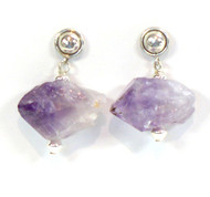 Rough Amethyst Crystal Earrings with Half Ball Silver Post