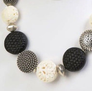 Handmade Silver Beads, Black Cinnabar and Hand Carved Bone Necklace