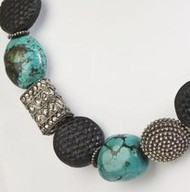 Handmade Silver Beads, Black Cinnabar and Beautiful Turquoise Nugget Necklace