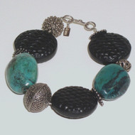 Handmade Silver beads, Black Cinnabar and Beautiful Turquoise Nugget Bracelet