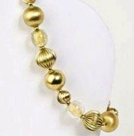 Petite, Textured,  Shiny Brass Bracelet with 24kt Gold Foil Glass Beads