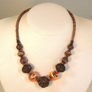 Wire Yarn Bead Petite Necklace with Brushed Copper
