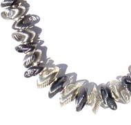 Antique Silver and Silvertone Coil  Bead Necklace.