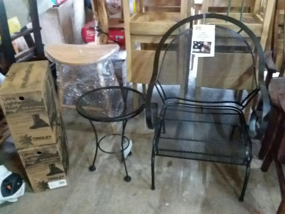 a.-two-pair-of-boots-saddle-stool-wrought-iron-stand-and-chair.jpg