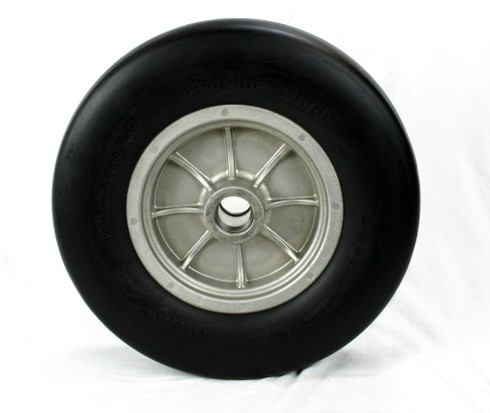 Front view of 4.50-10 Bombardier Bombi Wheel Assembly (Solid tire mounted on wheel)