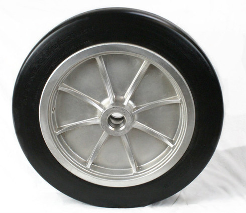 "4.50-16 Bombardier Snow Coach wheel assembly. Solid elastimer tire mounted on 16"" aluminum rim."
