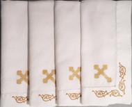 Orthodox Cross Linens, set of four dinner napkins. Gold cross design.