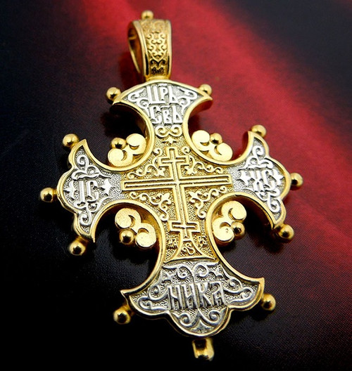 Russian Cross, sterling silver and 18k gold-plated