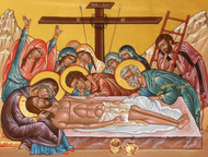 Epitaphios, large icon. The icon depicts Christ's body being prepared for burial.