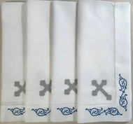 Orthodox Cross Linens, set of four dinner napkins. Blue and silver design.