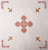 Orthodox Cross Linen, Pascha basket cover / Slava Kolach. Red and gold design.