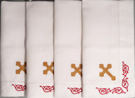 Orthodox Cross Linens, set of four dinner napkins. Red and gold design.