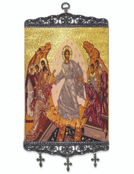 Tapestry Banner, icon of the Resurrection, 17 inch tall