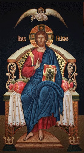 christ enthroned  on black   large icon