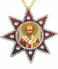 Ornament, icon of St. Nicholas in a red star-shaped frame