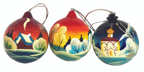 Ornament, sphere-shaped with assorted church scene